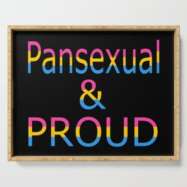 Pansexual and Proud (black bg) Serving Tray
