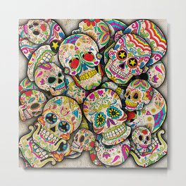 Sugar Skull Collage Metal Print
