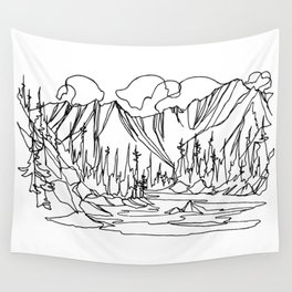 Ice Creek Lake, Valhallas :: Single Line Wall Tapestry