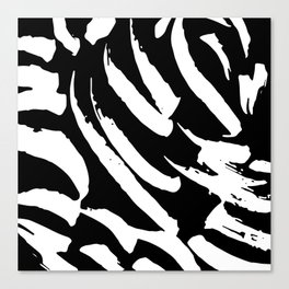 Black and White Brush Strokes Canvas Print