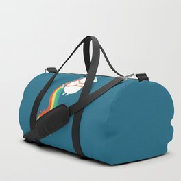 Fat Unicorn on Rainbow Jetpack Duffle Bag
