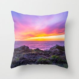 California Dreaming - Brilliant Sunset in Big Sur Throw Pillow