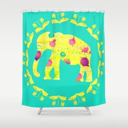 Watercolor yellow elephant Shower Curtain