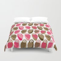 owls Duvet Covers featuring Owls by Lydia Meiying
