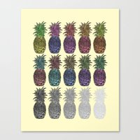 pineapples Canvas Prints featuring Pineapples by Hinterlund