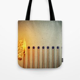 burning matches fire Tote Bag