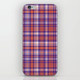 Varsity plaid purple orange and white clemson sports college football universities iPhone Skin
