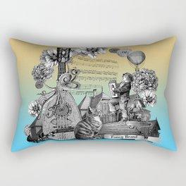Street music vintage engraving collage Rectangular Pillow