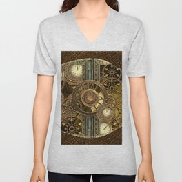 Steampunk, awesome clocks Unisex V-Neck