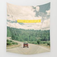 text Wall Tapestries featuring NEVER STOP EXPLORING - vintage volkswagen van by Leslee Mitchell