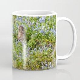 Marmot and wild flowers at Mount Rainier Coffee Mug