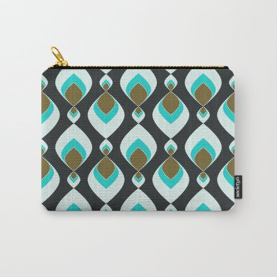 Retro pattern . Peacock Tail 2 . Carry-All Pouch