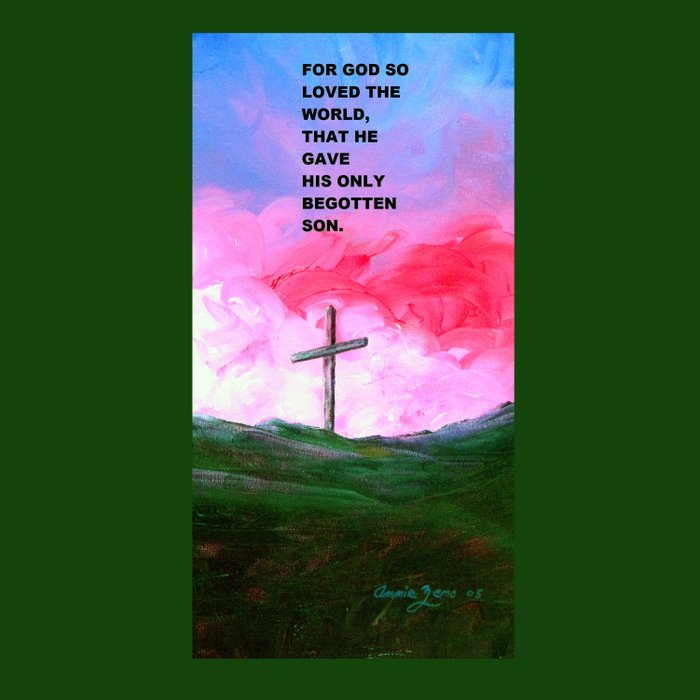For God So Loved The World Painting With Cross By Annie Zeno  Duvet Cover