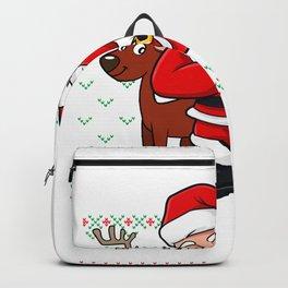 Dabbing Santa Reindeer Ugly Christmas Sweater Backpack