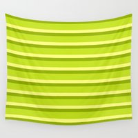lime green Wall Tapestries featuring Lime Green Stripes by Texture