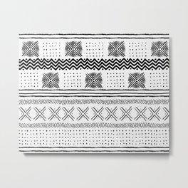 Mud Cloth Geometric Stripe Metal Print