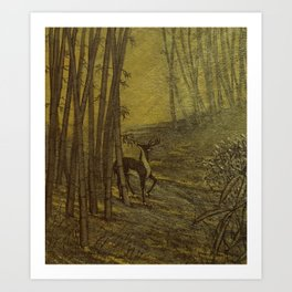 Bamboo Forest in Gold and Burnt Umber Art Print