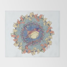 Small Bird With Wildflowers And Holly Wreath Throw Blanket