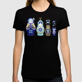 Russian Nesting Dolls – Blue & Gold T-shirt