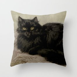 Vintage Painting of a Black Cat (1903) Throw Pillow