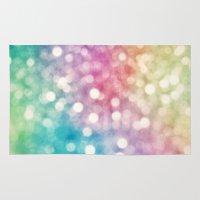 sparkles Area & Throw Rugs featuring Rainbow Sparkles by Sharon Johnstone