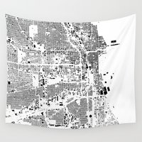 buildings Wall Tapestries featuring Chicago Map Schwarzplan Only Buildings by City Art Posters