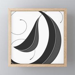 Letter D - Script Lettering Cropped Design Framed Mini Art Print