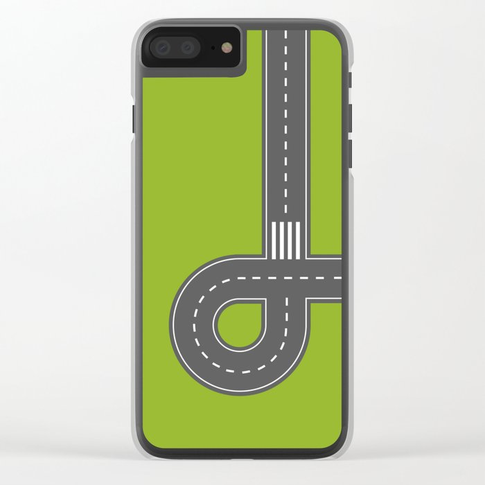 Road print. Green Clear iPhone Case