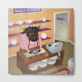 A-Z Animal, Bull Sales Person - Illustration Metal Print
