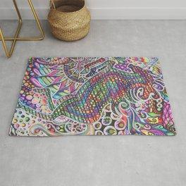 Unicorn Mandala Psychedelic Pattern Ink Drawing Rug
