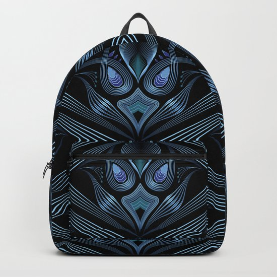 Art Deco 37. Black-blue satin . Backpack