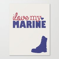 marine Canvas Prints featuring Marine by Adrienne DeWilde