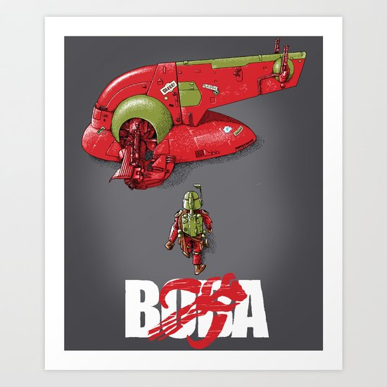 BobAkira (red with white text) Art Print