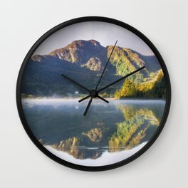 Misty Dawn Lake Wall Clock