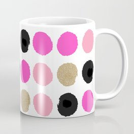 Finley - Abstract colorful brushstroke dots in gold and pinks Coffee Mug