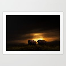 Two American Buffalo Bison with Moon Rise Art Print