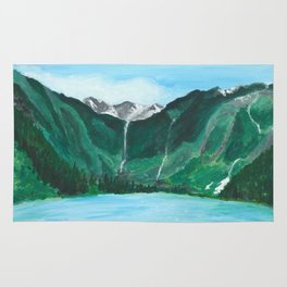 Avalanche Lake Mountain Waterfall Art Rug