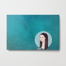 a girl with Galaxy hair Metal Print
