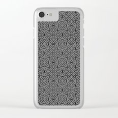 Ancient Pattern Illustration in Steel Gray Clear iPhone Case