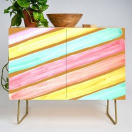 Retro Watercolor Stripes  Credenza