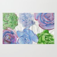 succulents Area & Throw Rugs featuring Succulents by Kate Havekost Fine Art