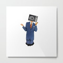 Retro Tv Man Metal Print