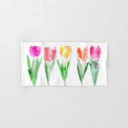 Tulips from the garden    watercolor Hand & Bath Towel