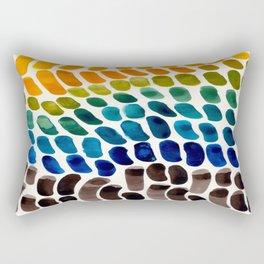 Colorful Rainbow Watercolor Organic Patterns Natural Shapes Playful Art Mid Century Modern Tribal Ar Rectangular Pillow