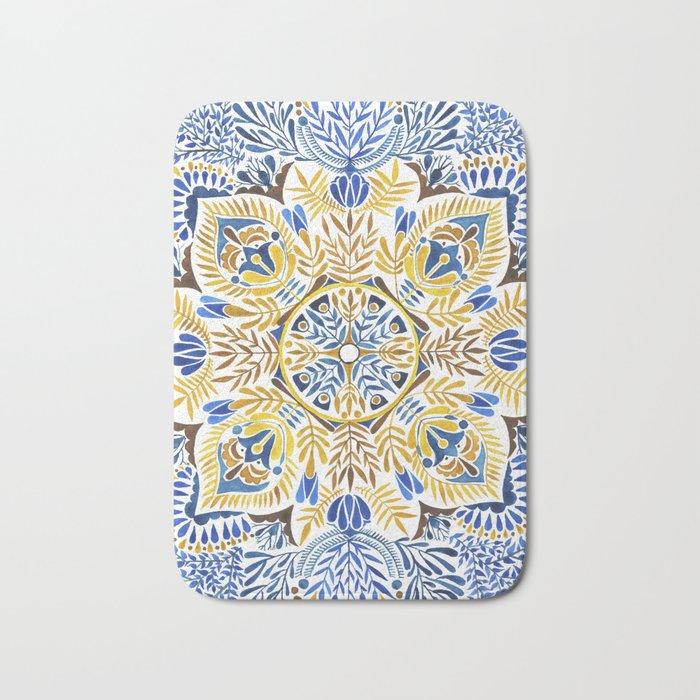 Wheat field with cornflower - mandala pattern Bath Mat