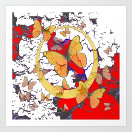 YELLOW  BUTTERFLIES IN WHITE & RED ABSTRACT Art Print