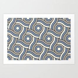 Circle Swirl Pattern Ever Classic Gray 32-24, Dusk Sky Blue 27-23, and Dove White 33-6 Art Print