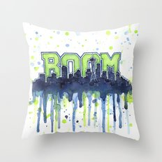 Seattle 12th Man Seahawks Painting Legion of Boom Art Throw Pillow