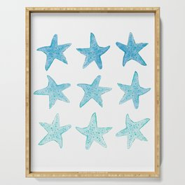 Blue Watercolor Starfish Serving Tray