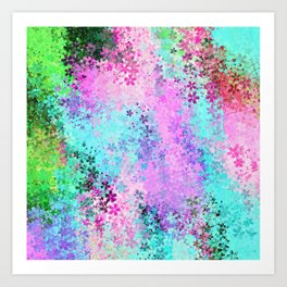flower pattern abstract background in pink purple blue green Art Print